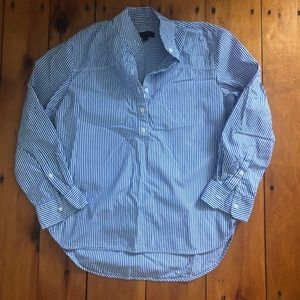 J Crew Collarless Popover Button Up